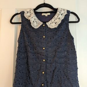 Modcloth Navy Scalloped Blouse w/ Peter Pan Collar